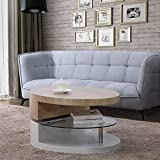 Mecor Oval Rotating Coffee Table - Modern Tea Table with Glass Shelf, Wooden Top & White Gloss - End Table with 2 Tier Design for Living Room