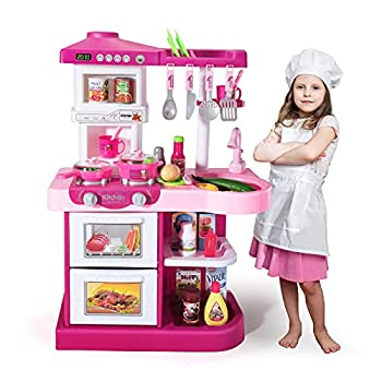 Temi Play Kitchen Playset Pretend Food - 53 PCS Pink Kitchen Toys for Toddlers Toy Accessories Toddler Set w/ Real Sounds and Light Toddler Outdoor Playset for Kids Girls & Boys