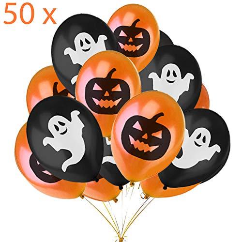 Jonami Halloween Deko Set, 50 Halloween Luftballons, Halloween Dekoration Ballons, Orangen Schwarze Ballons mit Geistern und Kurbissen fur Halloweenparty Kinder