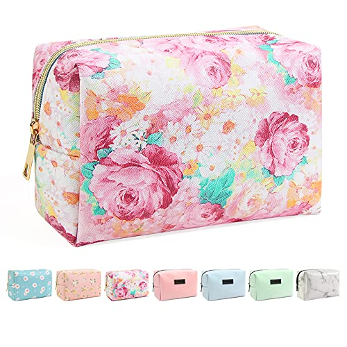 Small Makeup Bag For Purse, MAANGE Travel Cosmetic Bag Makeup Pouch PU Leather Portable Versatile Zipper Pouch For Women (Peony)