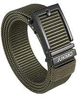 JUKMO Men's Nylon Webbing Ratchet Belt with Automatic Slide Buckle (Army green, Medium)