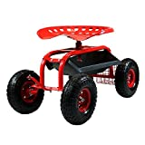 Sunnydaze Rolling Gardening Chair Cart with Wheels - Full Range 360 Swivel Seat with Adjustable Height - Utility Tool Tray and Storage Basket - Red