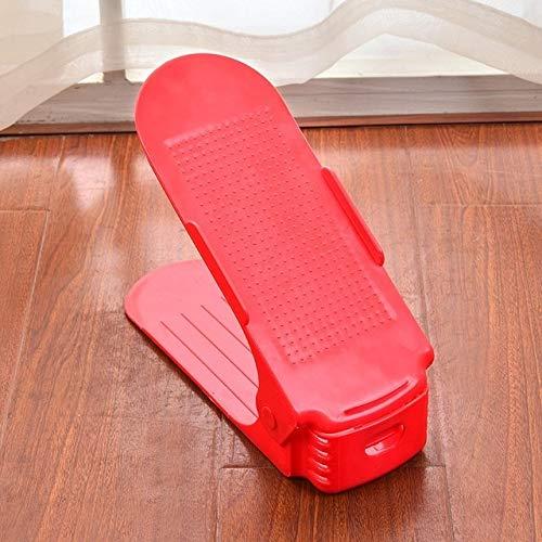XGQ Hogar Simple Ajustable de Almacenamiento Zapatero Shleves Zapatillas de plástico del Soporte del gabinete (Negro) (Color : Red)