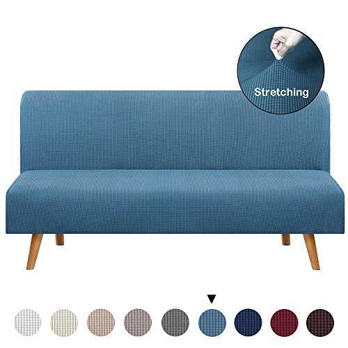 BEILENING Sofabezug ohne Armlehnen 3-Sitzer,Einfarbig,Polyester,Stretch-Stoff, Schonbezug für Sitzer,Couchschoner,Passend für Faltbares Sofa oder Bett ohne Armlehnen,Light Blue