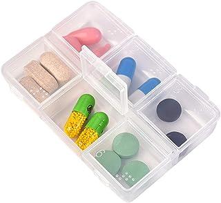 Household Medicine Box Portable Medicine Box Weekly Medicine Pill Box Pill Seal Storage Box Medicine Box (Color : Clear, Size : 8.2cm×6cm×1.5cm)