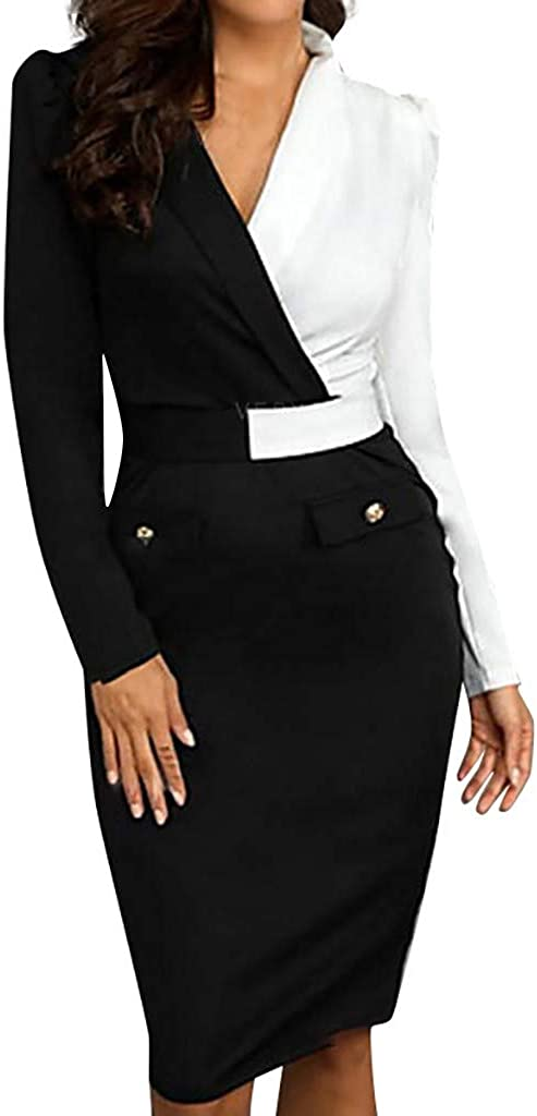 Dresses for Women Work Casual Fall Spring Long Sleeve Wrap V Neck Bodycon Cocktail Party Pencil Knee-Length Dress
