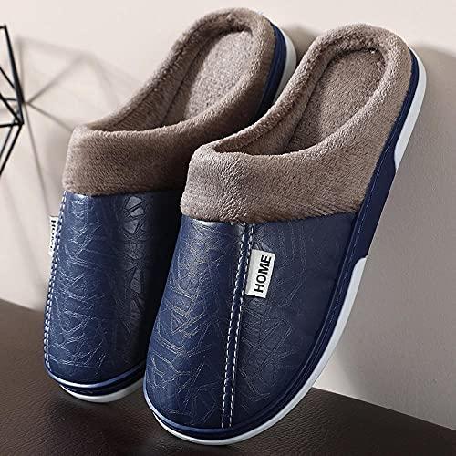 Zapatillas Peluche Mujer,Zapatillas de algodón cálido de Pareja de Cuero de PU, Zapatillas de algodón para el Interior del Piso Interior-Tibetano_38-39,Zapatillas de Algodón con Memoria