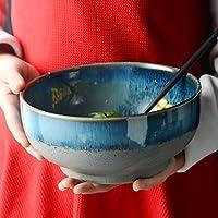 12LYN Ensalada de Frutas Tazón Vintage Estilo Americano Azul Fideos instantáneos Tazón Hogar Cerámica Vajilla (Color : 1.7L)