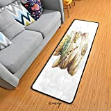 Homenon Large Area Rug Runner Floor Mat Spiritual Cat with Hat and Occult Eye Collar Grunge Celtic Trick Theme Carpet for Entrance Way Doorway Living Room Bedroom Kitchen Office 72 x 24 Inch