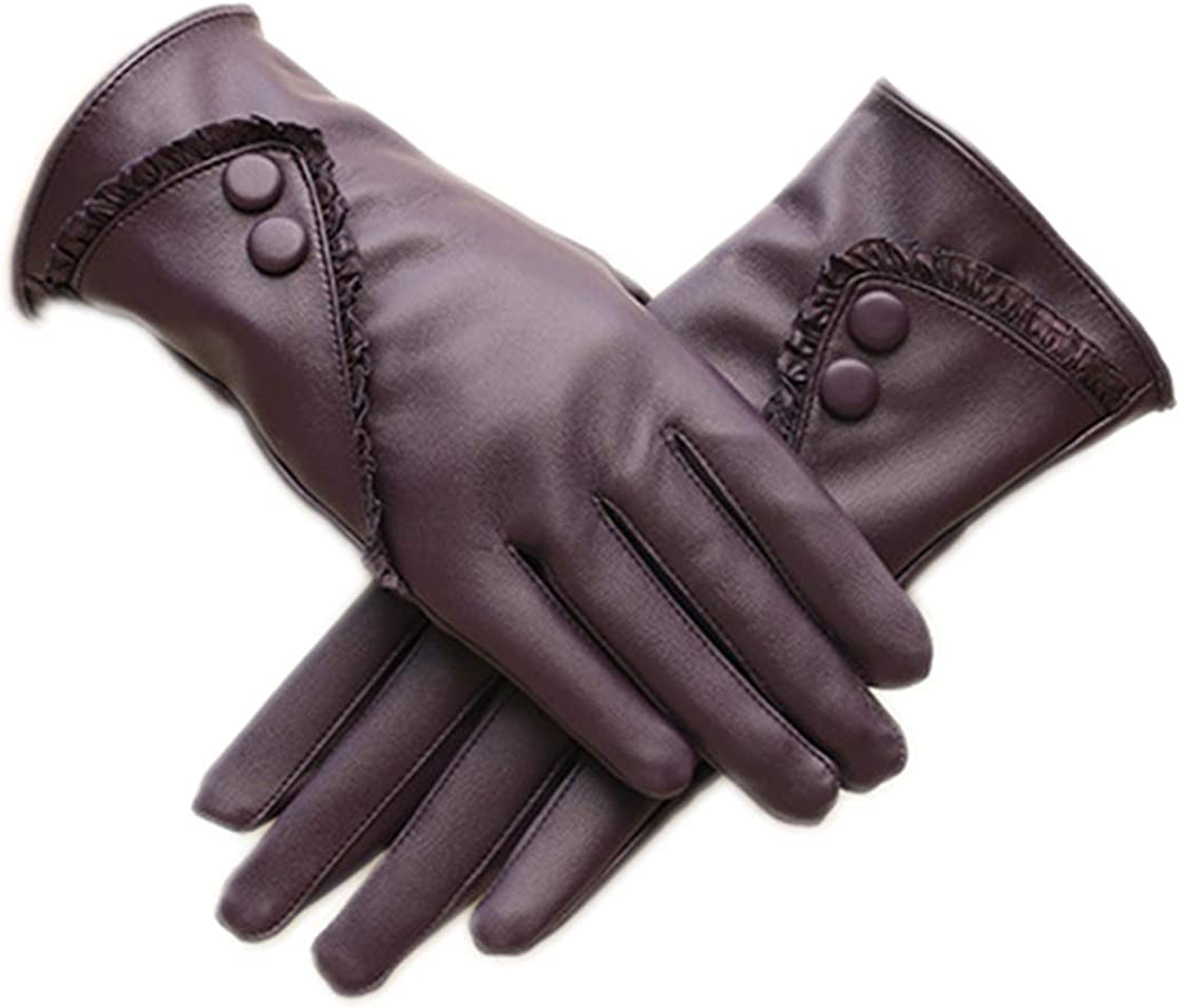Winter Leather Gloves for Women Warm Cashmere Lining Thick Windproof Outdoor Hand Mittens Touch Screen with Buttons