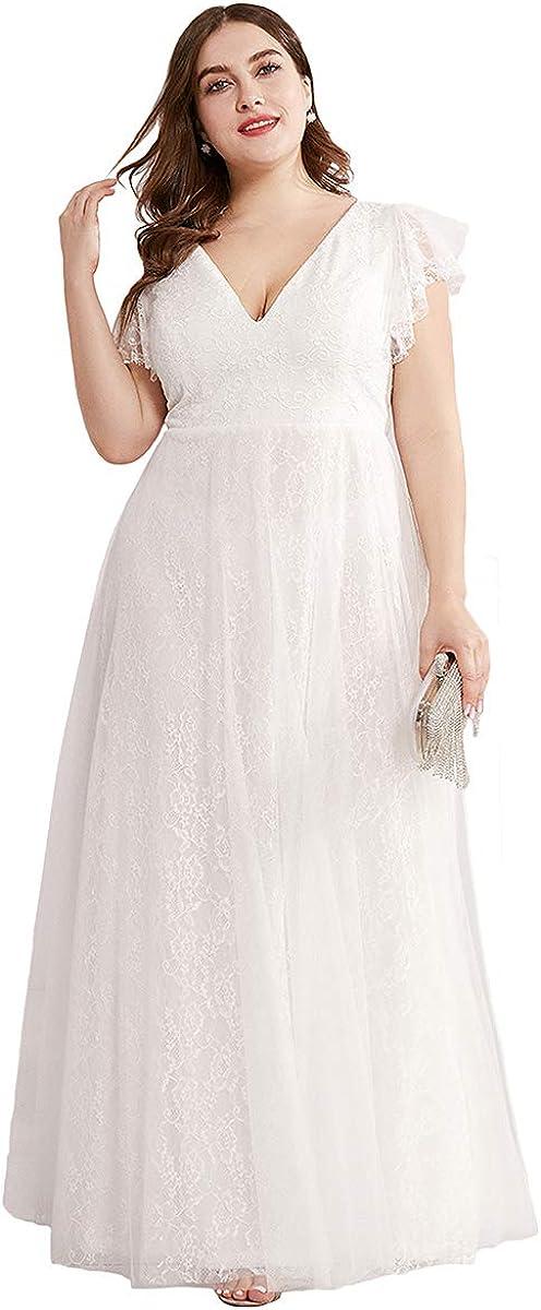 Ever-Pretty Women's Double V-Neck Floral Lace Plus Size Evening Dress 0857-PZ