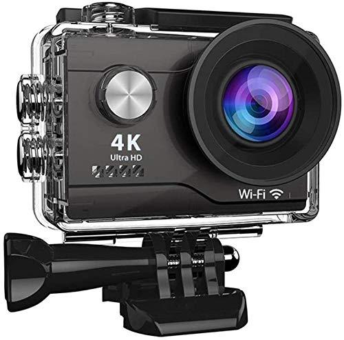 Cámara de acción 4K Anti-Shake Full HD WIFI impermeable Cámara deportiva submarina 40M con micrófono Pantalla LCD de 2 pulgadas Gran angular de 170 grados con control remoto negro