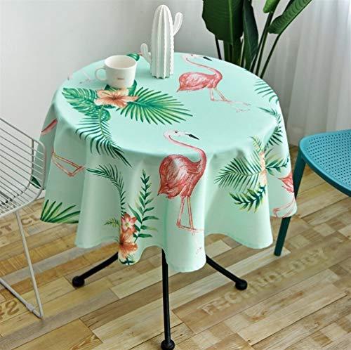 Tovaglia scandinava Stile Tovaglia rotonda semplice impermeabile e la stampa Oilproof Ristorante Albergo Home Tovaglia rotonda Impermeabile e antivegetativa ( Color : Flamingo - Green , Size : 120 )