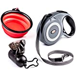 PETerials Retractable Dog Leash (16.4') Adjustable Cord for Walking, Jogging, Travel | Heavy-Duty, Up to 110 lb Dog, Ergonomic Grip | Incl. Waste Bag Dispenser, Collapsible Water Bowl