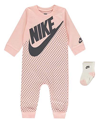 Nike Baby Mädchen Girl Set Bodysuit, Strampler und Socken Rosa Newborn 0-3 Monate