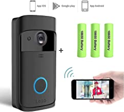 Smart Wireless WiFi Video Doorbell HD Security Camera with PIR Motion Detection Night Vision Two-Way Talk and Real-time Video Suitable 3 Batteries