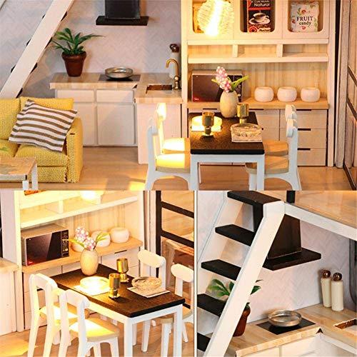 Kit de casa de muñecas en miniatura con muebles y cubierta, regalo creativo con luces LED + cubierta de polvo (B)