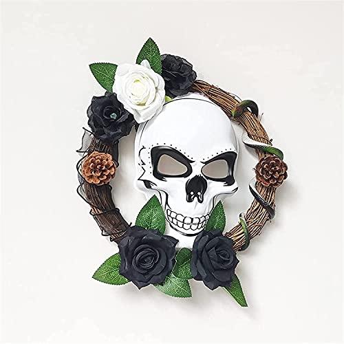 Cráneo De Halloween Guirnalda Con Esqueleto Colgante Cráneo Puerta De Madera Percha, Rosas Blancas Y...