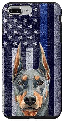 iPhone 7 Plus/8 Plus Thin Blue Line US Flag Doberman Pinscher Police Dog K-9 Gift Case