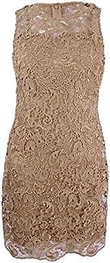 Calvin Klein Women's Petite Lace Sheath Dress (4P, Beige)