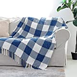 Blue White Buffalo Plaid Decor Blanket, Lightweight Soft Chenille Check Knitted Rustic Farmhouse Throw with Tassels for Couch Sofa Chair Bed Office Home, Blue and Ivory, 50' x 60'