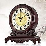 Fengfeng Reloj de Mesa de Escritorio, Relojes de repisa clásicos Relojes de Adorno analógico de Madera Clásico Antiguo de pie, sin Tic-TAC de Escritorio y Relojes de Estante, Regalo (38 * 34cm)