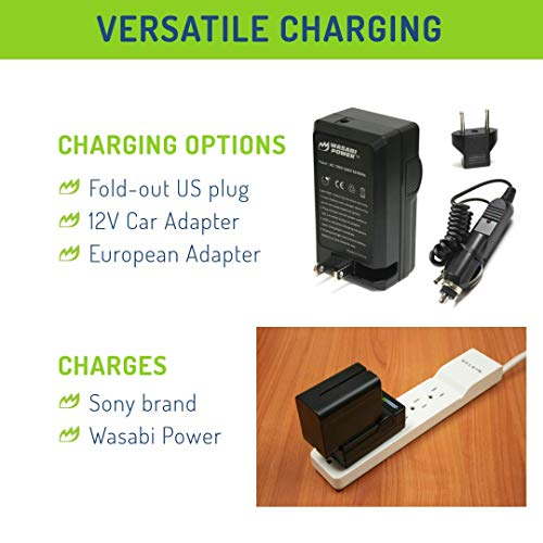 Wasabi Power Battery (2-Pack) and Charger for Sony NP-F950, NP-F960, NP-F970, NP-F975 (L Series)
