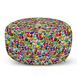 "Lunarable Stones Pouf Cover with Zipper, Digitally Generated Scene of Colorful Round Shapes Rock Inspired Silhouettes, Soft Decorative Fabric Unstuffed Case, 30"" W X 17.3"" L, Multicolor"