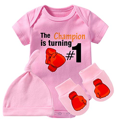 Culbutomind Baby Twins Body Guantoni da Boxe Champion è Turning Baby Outfit Divertente Pagliaccetto Baby Girl Pink First Rumble Set 9 mesi