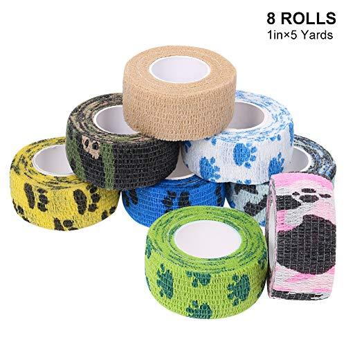adakel 8 Stück Haftbandage Kohäsive Bandage 2.5cm*4.5m Elastischer Fixierverband Wundverband Pflasterverband für Hunde, Sportler, Verletzte
