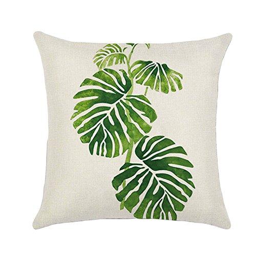 45 x 45cm Mode Lin imprimé Vert Tropical Plantes forêt Arbre Feuille Jeter Oreiller Housse étui taie d'accueil Bureau Sofa décoration Banana Leaf Style