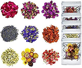 YoleShy Dried Flowers, Natural Dried Flower Herbs Kit for Bath, Soap Making, Candle Making - 9Bag Include Dried Lavender, ...