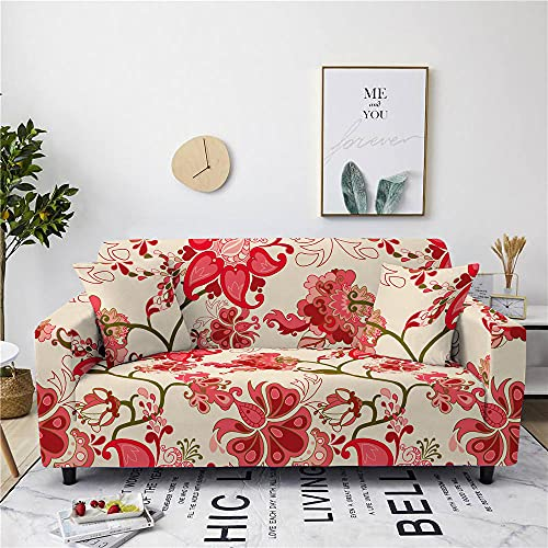 Super Stretch Sofa Covers Couch Covers Sofa Slipcovers for Sofas 3 Seater 3D Printed Red Flowers Non Slip Slipcover Furniture Protector with Spandex Fabric Washable Sofa SetEuropean Style