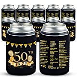 Yangmics 50th Birthday Can Cooler Sleeves Pack of 12-50th Anniversary Decorations- 1971 Sign - 50th Birthday Party Supplies - Black and Gold Fiftieth Birthday Cup Coolers
