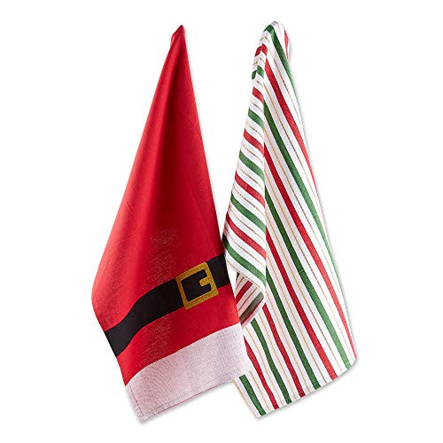 """DII Cotton Christmas Holiday Dish Towels, 18x28"""" Set of 2, Decorative Oversized Kitchen Towels, Perfect Home and Kitchen Gift-Santa Belt"""