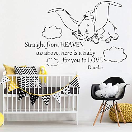 wanmeidp Flying Dumbo Wandaufkleber Baby Room Decor Niedlicher Dumbo Elefant Vinyl Wandtattoo Wunderschönes Dumbo Tier Mit Wolken Wand Poster 1 63x42cm