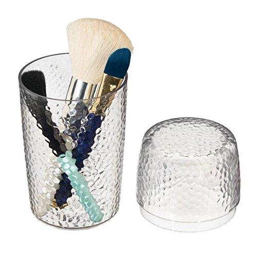 mDesign prácticos Vasos con Tapa para Utensilios de Maquillaje - Organizador de Maquillaje - Organizador de cosméticos para el Lavabo o tocador de Maquillaje - Transparente