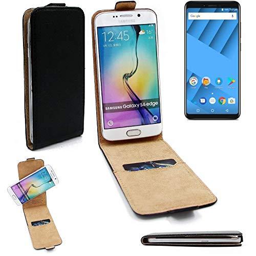 K-S-Trade® Für Vernee M6 Flipstyle Schutz Hülle 360° Smartphone Tasche, Schwarz, Case Flip Cover Für Vernee M6