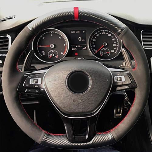 MDHANBK Cubierta de Volante de Cuero de Fibra de Ante de Carbono Negro Cosida a Mano, para Volkswagen VW Golf 7 Mk7 Nuevo Polo Jetta Passat B8