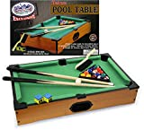 Matty's Toy Stop Deluxe Wooden Mini Table Top Pool (Billiards) Table with 15 Colored Balls, 1 Cue Ball, 1 Brush, 2 Pool Sticks, 2 Cubes of Chalk & Racking Triangle