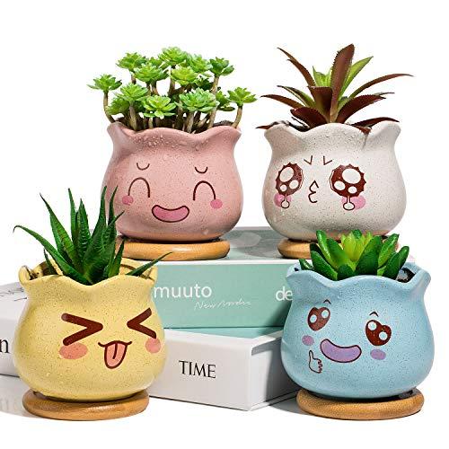 Yangbaga Mini vasi da Fiori con sottobicchieri in Ceramica per Piante grasse Vasi Decorativi Vasi per Piante di Cactus con sottobicchieri in bambù Set di 4 Colori (Bianco, Rosa, Giallo, Blu)