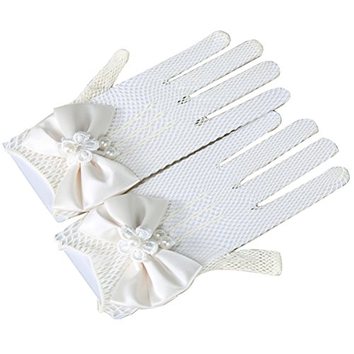 Tinksky Girls Flower Gloves Bridal Lace Short Princess Gloves for Wedding Party