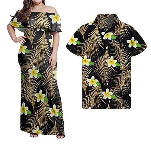 Mujeres Casual Polinesio Samoano Imprimir Soft Club Sexy Vestido de Registro Hombres Sueltos Camisas de Manga Corta Verano