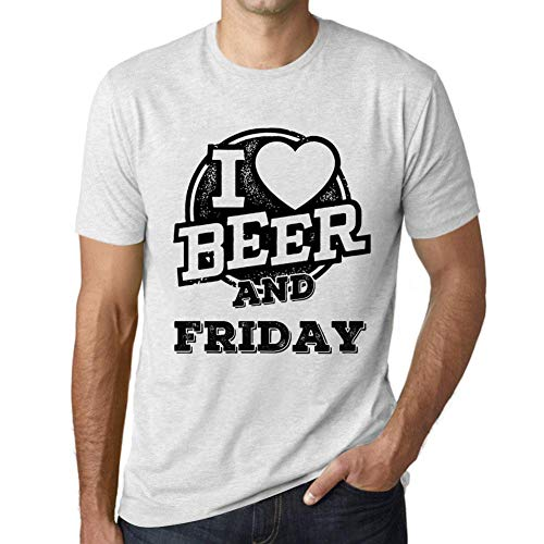 One in the City Hombre Camiseta Vintage T-Shirt Gráfico I Love Friday Blanco Moteado