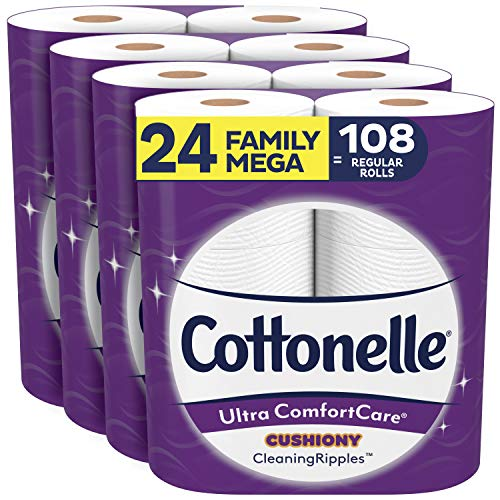 Product Image of the Cottonelle Ultra ComfortCare Toilet Paper with Cushiony CleaningRipples, 24 Family Mega Rolls, Soft Bath Tissue (24 Family Mega Rolls = 108 Regular Rolls)