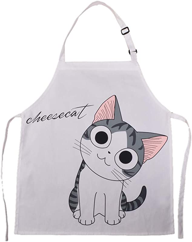 HOMCOS Kids Aprons Cartoon Cat Print Pattern Apron With Adjustable Neck Strap Child Chef Aprons For Boys And Girls 2 5 Year Old