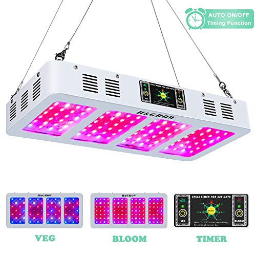 1200w LED Grow Light Full Spectrum H&GROW LED Plant Growing Lamp with Auto On/Off Timer and Daisy Chain for Indoor...