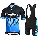 SUHINFE Ciclismo Maillot y Culotte Pantalones Acolchado 5D para Verano Deportes al Aire Libre Ciclo Bicicleta, XL
