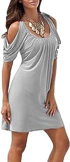 25c10363c1b Minetom Mujer Vestido De Playa Vacaciones Manga Corta Camisas Largas Fiesta Mini  Vestidos Verano Cuello Redondo