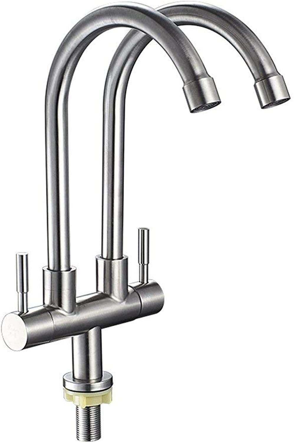 DYR Faucet Kitchen Faucet Single cold sink Sink faucet Can turn double tap Double digestions on the balcony Stainless steel faucet